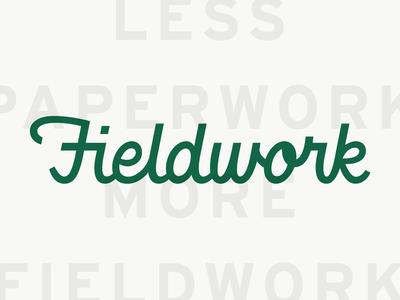Less Paperwork, More Fieldwork logotype brand strategy tagline script green visual identity branding focus lab