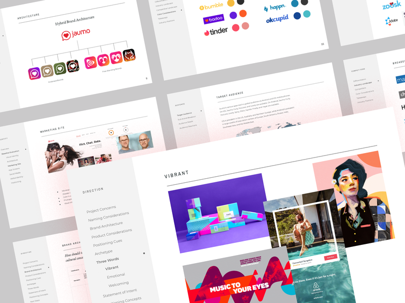 The Swipe is Right brand hierarchy brand architecture moodboard love dating app design visual identity identity branding brand strategy focus lab jaumo