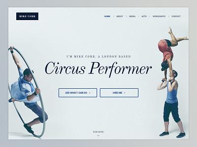 Circus Performer Website website circus design ui clean performer portfolio