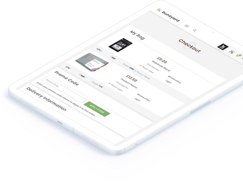 Buneyard - Checkout Screen react web app ipad app cart page checkoutflow checkout coffee coffee app uxdesign uiux ui