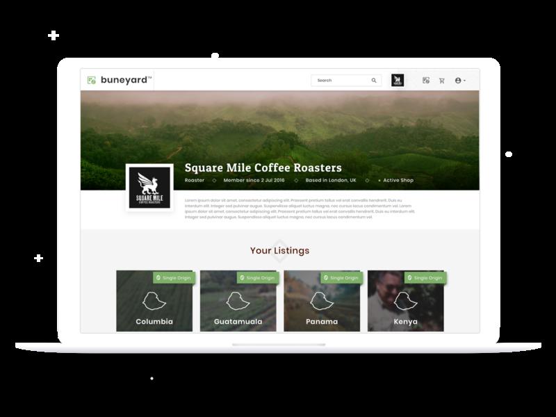 Buneyard - Roaster Screens create listing dashboard marketplace web apps coffee app ux design web app ui design uiux ui