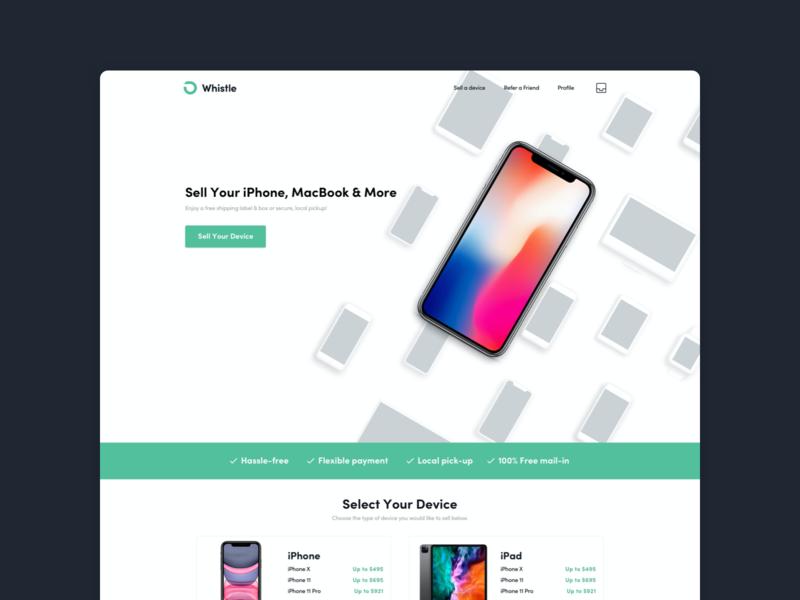 Whistle Landing Page & Web App product design iphonex iphone marketplace webapp design webapp uxdesign uiux ui