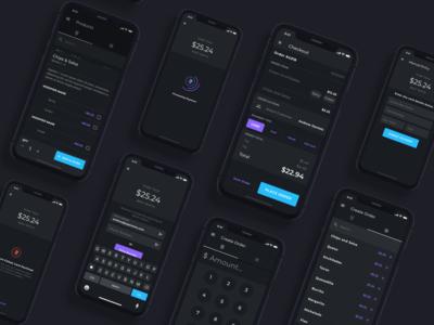 Dark Mode POS App ux app iphonex dark interface night mode dark mode ui modifiers item selection item checkout pos