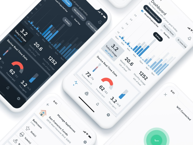 Smart Home Product App - Redesign iphone app iphone x ux smarthome uidesign dashboard graphs uiux
