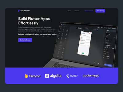 Flutter Flow Landing Page flutter app builders webflow web webpage builder nocode flutterflow landingpage