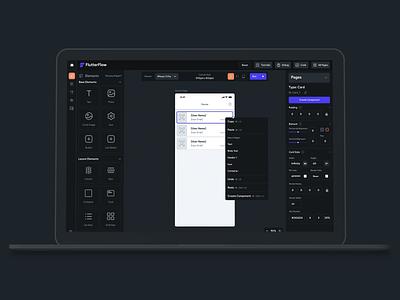 Flutterflow - No Code Builder for Flutter Apps saas design navigation drag and drop app builder nocode saas app design dashboard ux app ui