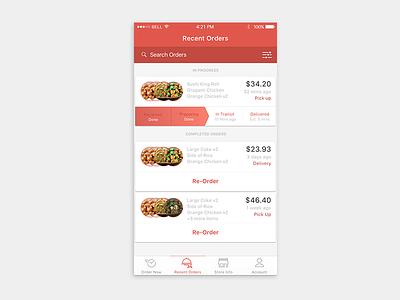 Recent Orders tab bar icons ux recent orders ui ordering app orders