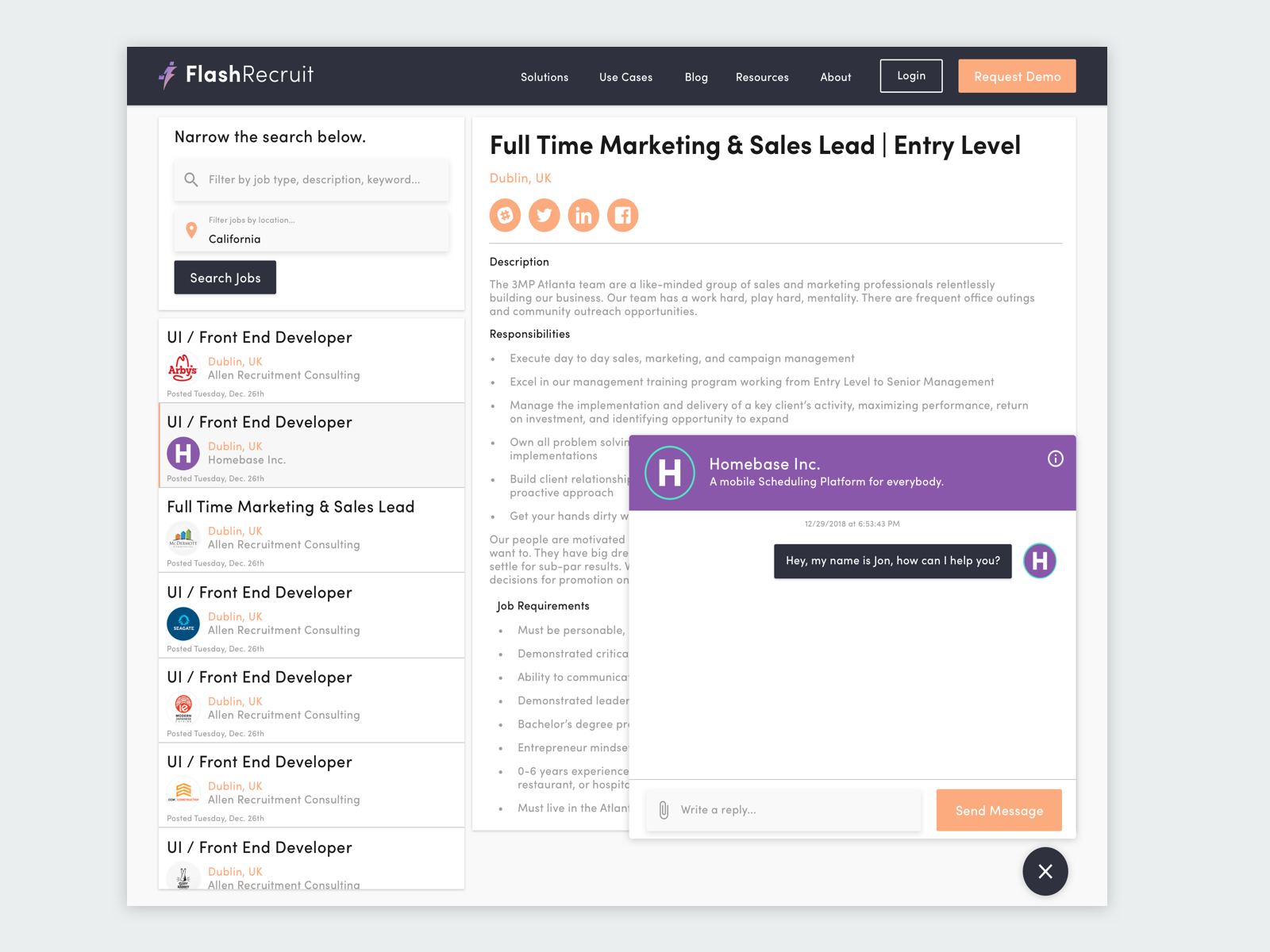Chat Feature For Job Search Site By Andrew Daniels On Dribbble