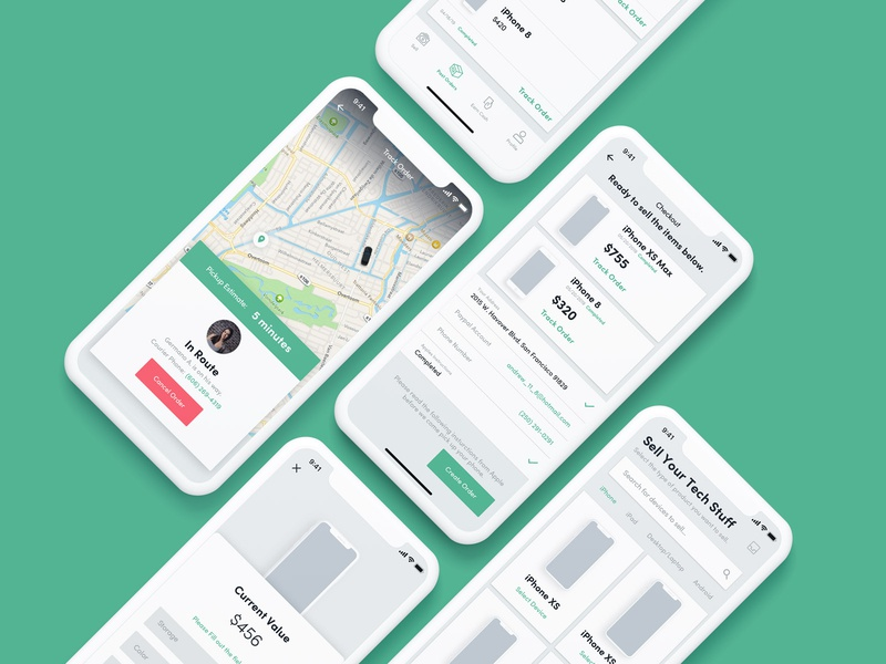 Sell your iPhone App minimal clean track shipment checkout mockups e-commerce marketplace iphonex ux app ui