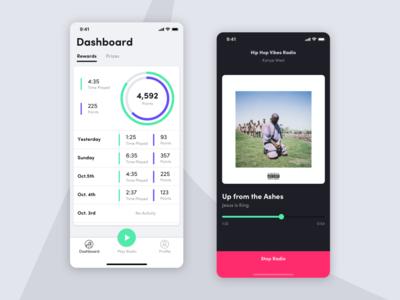 Radio App & Dashboard graph ios13 iphonex uiux music player ui minimal music player music radio