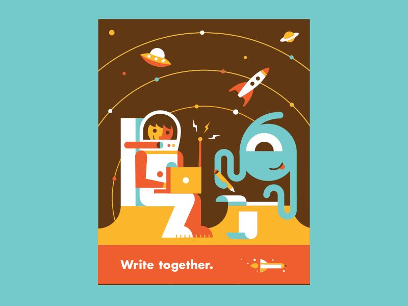 Write Together pencil rocket saturn laptop write alien astronaut ufo rocket solar system flat illustration