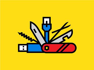 jack of all ethernet corkscrew usb scissors knife swiss army knife