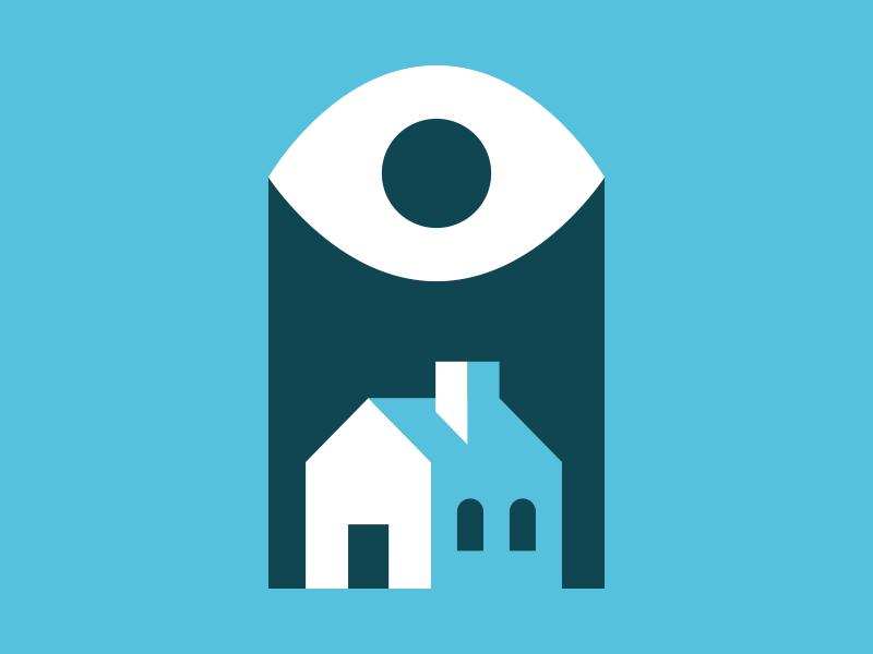 Eye of Suburbia illustration house eye