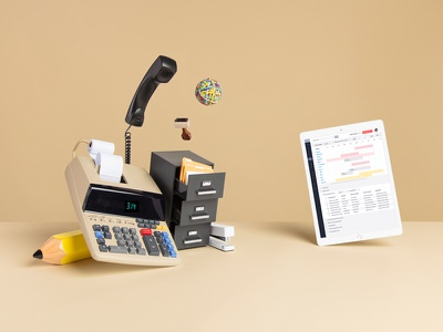 Vonigo telephone stamp tan art direction photo photography ipad files pencil calculator beige office