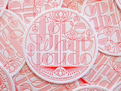 Wisdom print coaster red line type lettering lotus letterpress
