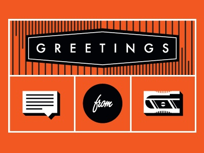 Greetings vintage line orange pencil sharpener talk bubble print