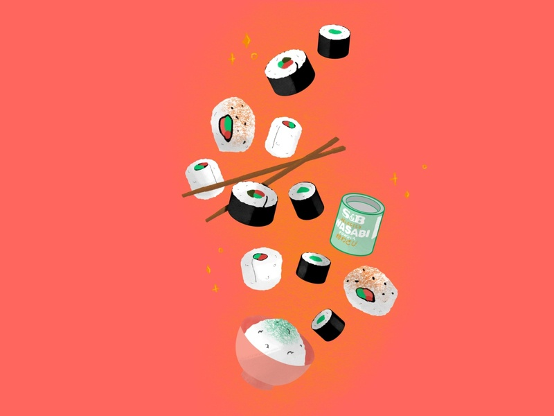 Sushi Illustration (Week 13 - Still Here Still Life) procreate illustrator cute food illustration illustration sushi