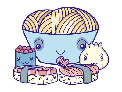 Cute chibi food noodles ramen sushi japanese children kid face character design chibi food logo character illustrator vector kawaii cute illustration