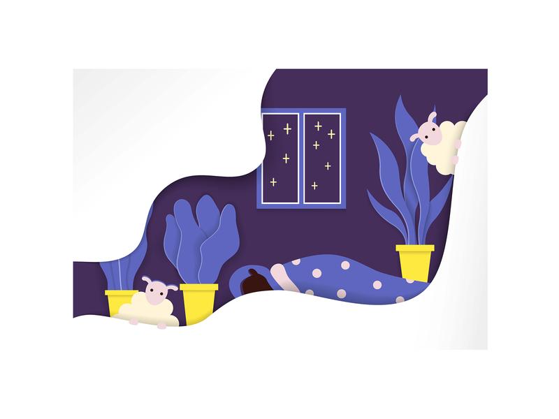"Flat illustration ""midnight"" girl black woman blue interior room midnight night time flat  design sheep sleep flat design vector minimal illustrator illustration flat design"