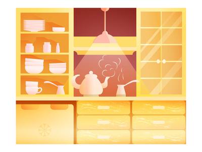 Kitchen in flat design