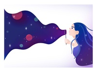 Girl blowing universe