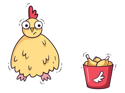 Chiken kfc chicken wings chicken vegan cute kawaii vector minimal flat illustration