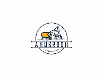Anderson Construction Logo type art logo vintage logo typography vector illustrator illustration flat design branding