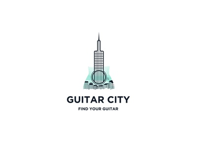 Guitar City Logo illustrator minimal icon typography logo flat design branding vector logo art logo illustrator logo creative logo logodesign