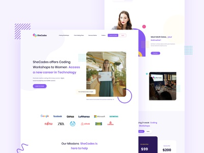 SheCodes Website Landing Page Redesign web design psd template digital agency illustration landing page home page web page landingpage app ux ui illustrator design