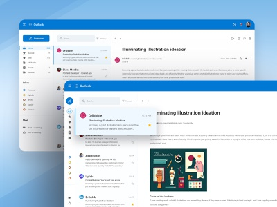 Outlook Redesign UI Concept dashboard app dashboard design flat email ui kit email layout responsive design dashboard template technology web userinterface outlook redesign email template dashboard app ux ui design