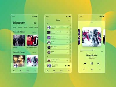 Glassmorphism Music App Design music app ui glass screen glass app music player screen ios app song app glassmorphism music app website vector web app ux ui design