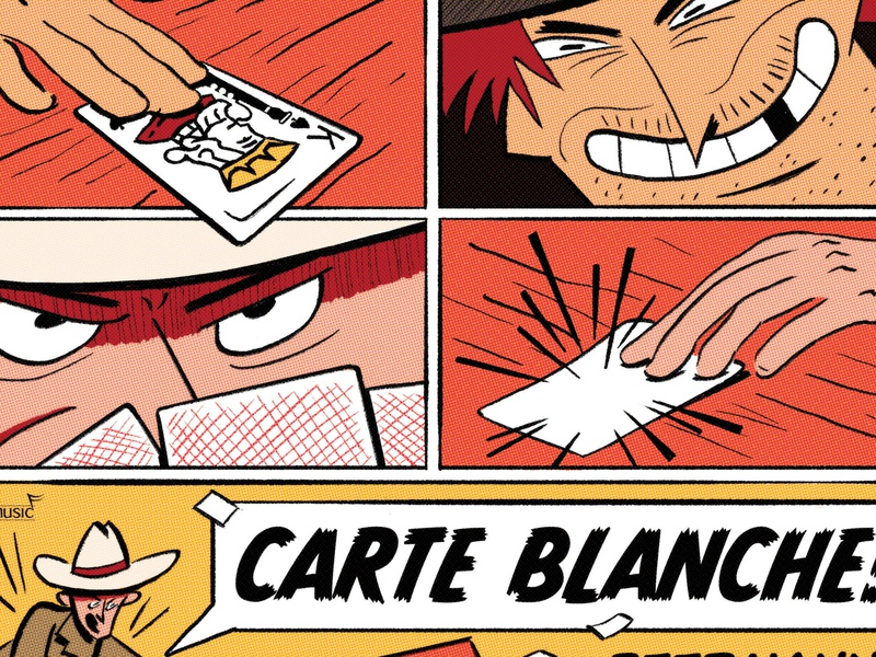 Carte Blanche Album playing card comic art comic comic book spaghetti western western bassoon