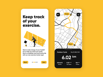 Exercise Tracker simple illustration health map minimal yellow ride calorie timer uiux mobile ui tracker bicycle yoga exercise flat concept application iphone app android app