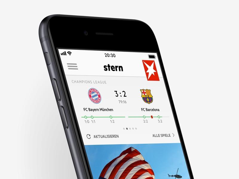 stern football live ticker ux ui interaction design app scoreboard score ticker football