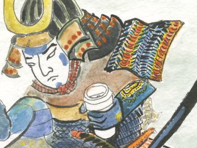 Coffee Kappa/Two Large Black To Go water color ink illustration ukiyo-e japanese monster samurai coffee folklore