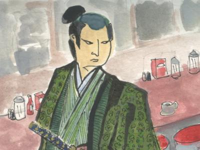 Samurai at the Diner diner samurai katana kabuki kimono water color monster ghost japanese kaiju kappa coffee