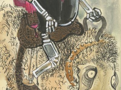 Robot cowboy robot cowboy monster raygun scifi western hat