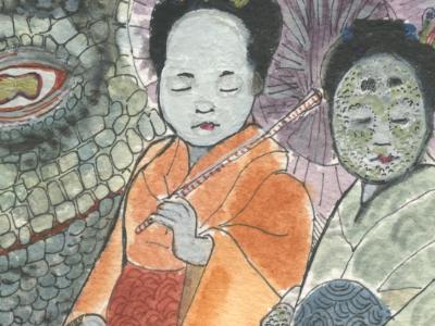 the dragon princess dragon kimono monster kaiju watercolor scales japan