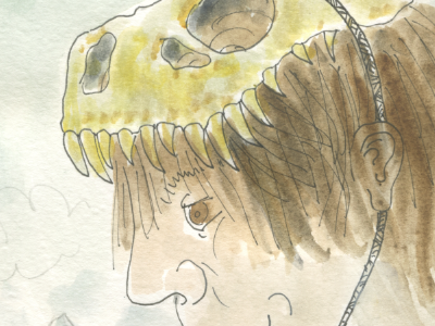 I stole the giants' secret and went to the museum giant monster kid watercolor