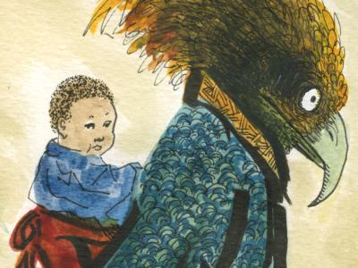 The Babysitter monster japan kimono baby babysitter watercolor kaiju