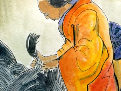 The Giants' Hairdresser japan monster kimono hair hairdresser giant watercolor kaiju