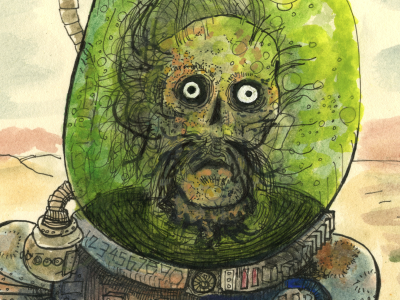"The Robot Cowboy's nemesis, ""The Head."" sci fi cyborg zombie robot water color monster"