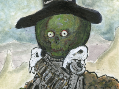 The Evil Head monster western cowboy zombie water color skull