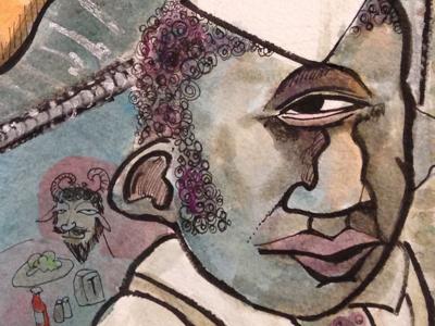 Polyphemus monster illustration water color ink greek diner restaurant mythology cyclops satyr eye coffee