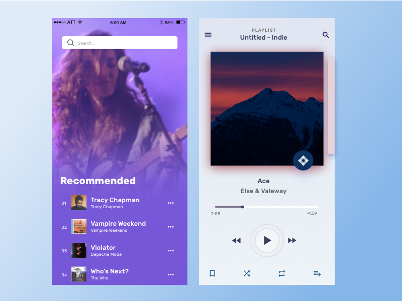 Music Player App Concept chuckmcquilkin player ui media player music player music app music ux design ui app