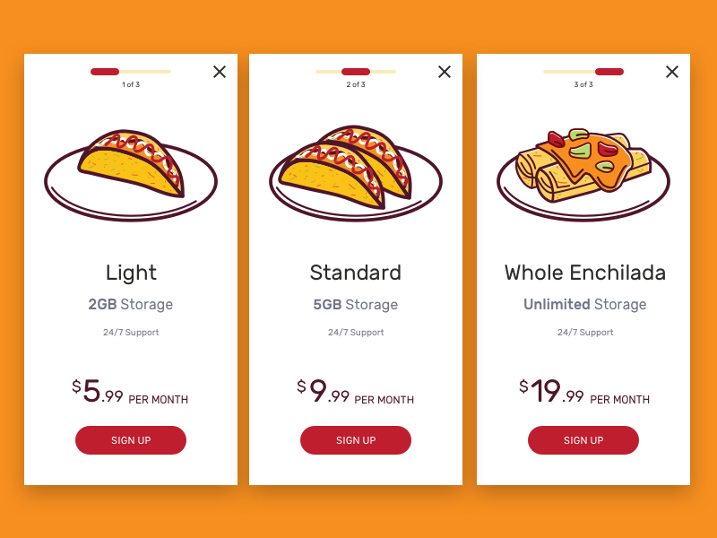 Pricing Page chuckmcquilkin serious tacos enchiladas enchilada tacos taco price price list price table pricing plans pricing table pricing plan pricing page pricing web ux app design ui