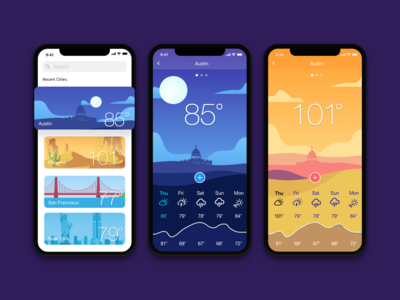 Weather App designs, themes, templates and downloadable