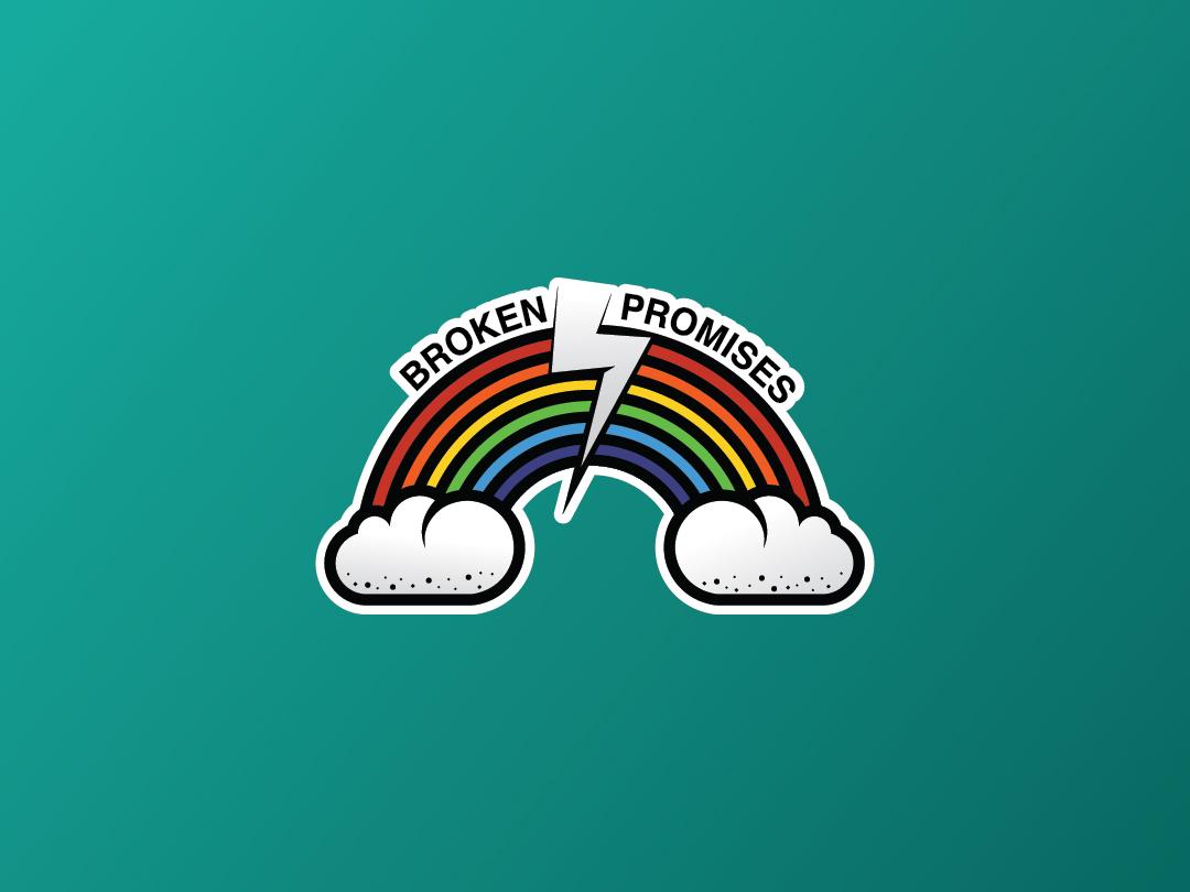 Broken Promises colorful colours colour rainbow icon graphic  design stickers sticker adobe illustraion branding design vector branding