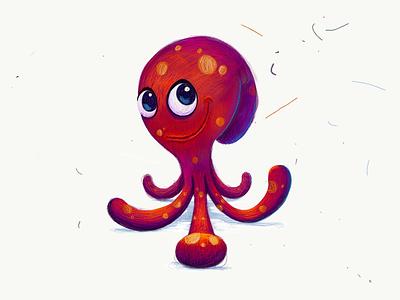 Little Octopus cute animal sea illustration draw sketch ipadpro octopus