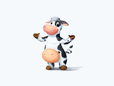 Starmilk Cow cheese farm milk dairy products illustration concept cow
